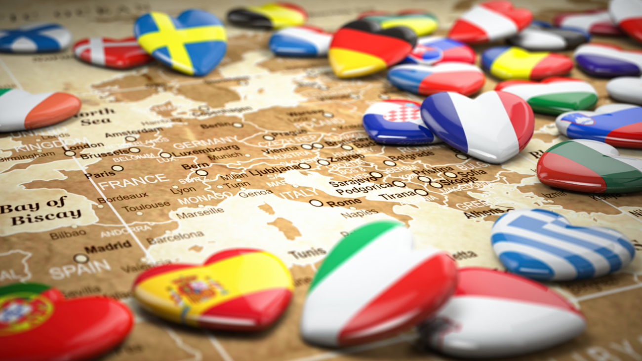 Map of Europe  and hearts with flags of european countries. Travel  and tourism to European Union EU concept. 3d illustration